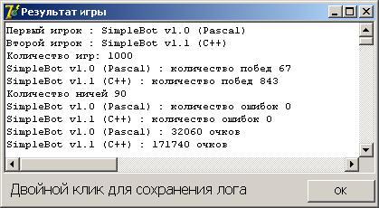 Рис. 1. Результаты игры SimpleBot v1.1