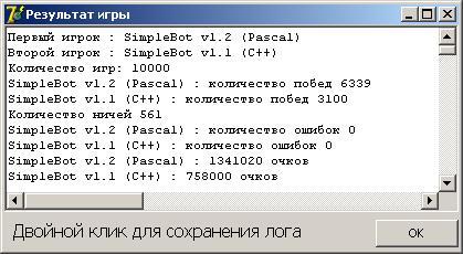 Рис. 2. Результаты игры SimpleBot v1.2